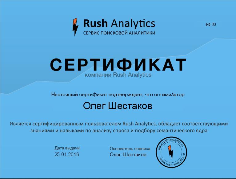 Сервис поисковой аналитики Rush Analytics запускает систему профессиональной сертификации экспертов